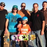 L to R: Donny Smith (Spohn Ranch Builders), Brad Beech (628 Skate Shop), Marc Beitia (Mayor), Matthew Cowell (skateboard winner), Jeremy Peirsol (Parks & Recreation), Allen Giesbrecht (JUB Engineers)